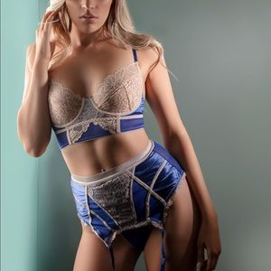 Blue/Tan lingerie set